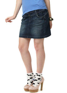 13510 Mamaway Denim Maternity Skirt in Dark Wash