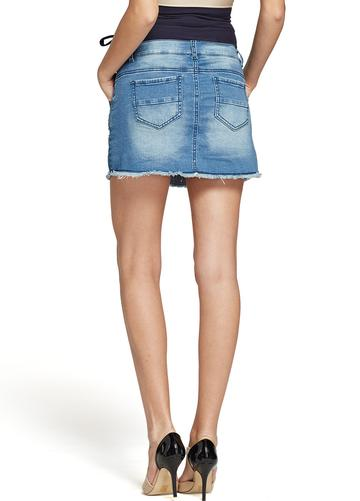 171516B Ripped & Washed Maternity Denim Skirt