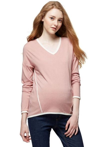 Mamaway V-Neck Maternity and Nursing Cardigan Apricot Wash