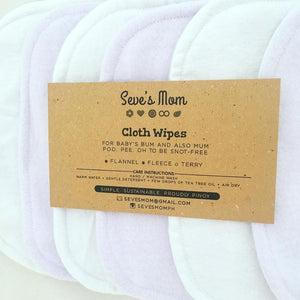 Seve's Mom Cloth Wipes - Lavender (Set of 6)