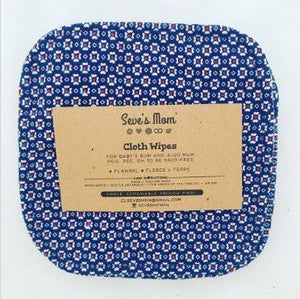 Seve's Mom Cloth Wipes - Navy Blue Florals (Set of 6)