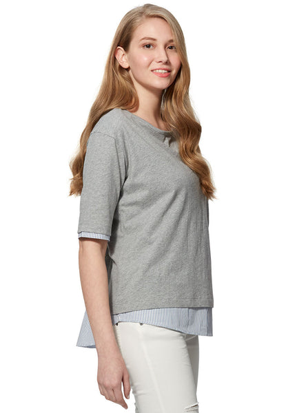 Mamaway Mosaic 2-Piece Maternity & Nursing Top Light Heather Grey