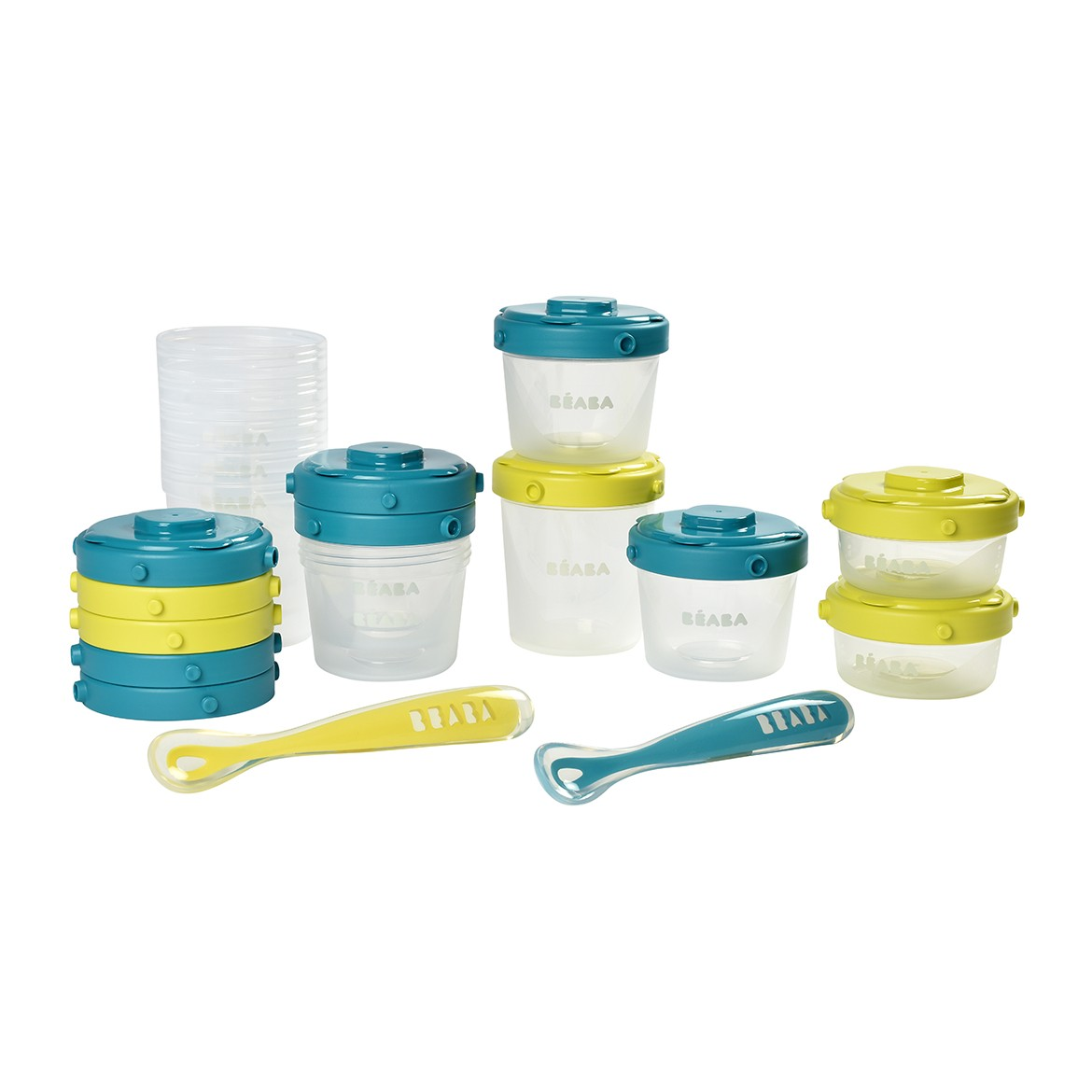 Beaba 1st Meal Set (Set of portions clip+1st age silicone spoon) - Neon/Blue
