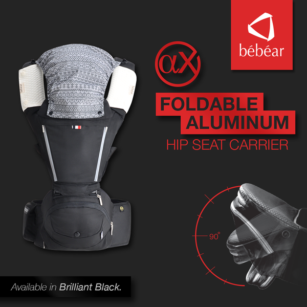 Bebear AX Foldable Aluminum Hip Seat Carrier - Space Gray