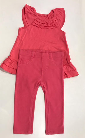 2pcs Candy Heart Pink Top with Jeggings (18m)