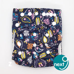 Next9 Cloth Diaper Deep Blue Plants