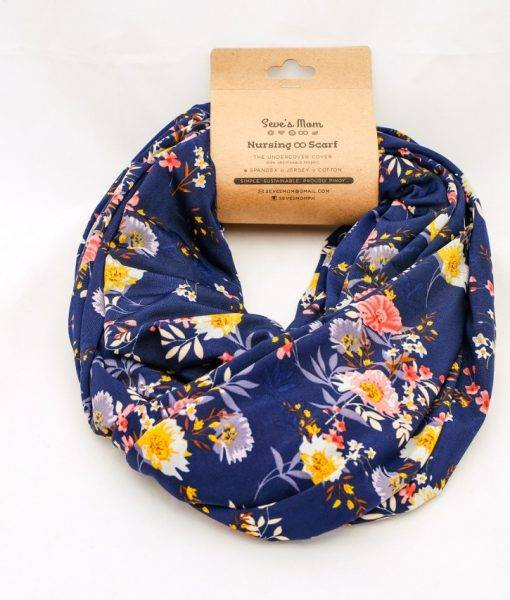 Seve's Mom Nursing Infinity Scarf Double Layer - Floral Blue