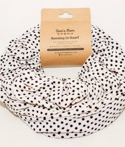 Seve's Mom Nursing Infinity Scarf Double Layer - Small Polka Dot Black
