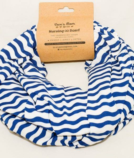 Seve's Mom Nursing Infinity Scarf Double Layer - Waves Blue