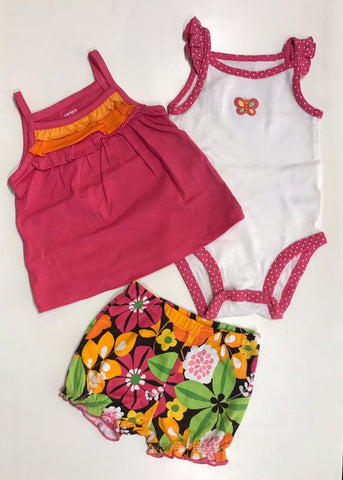 3pcs Pink Butterfly Onesie/Top/Bloomer (6m)
