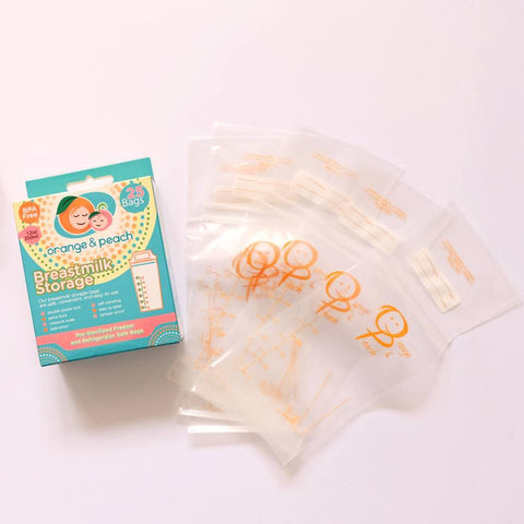Orange & Peach Breastmilk Storage Bags 25's - 12 oz