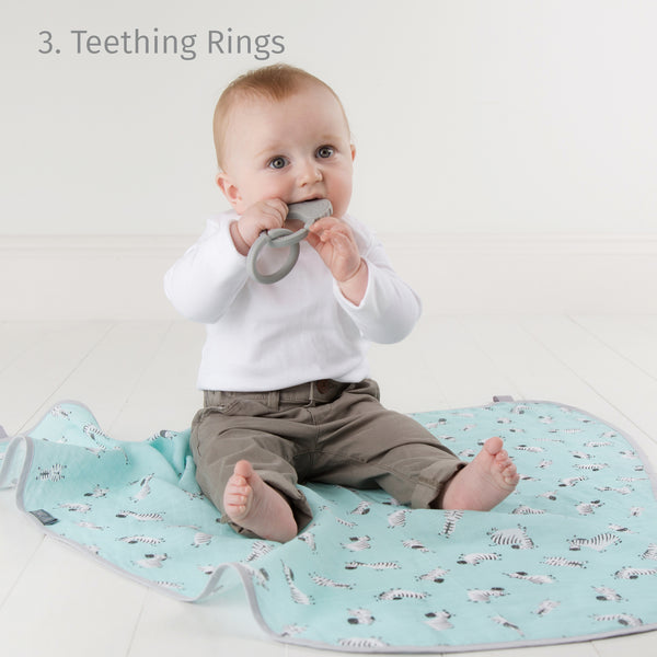 Cheeky Chompers Multi Muslin Zebra Dreams