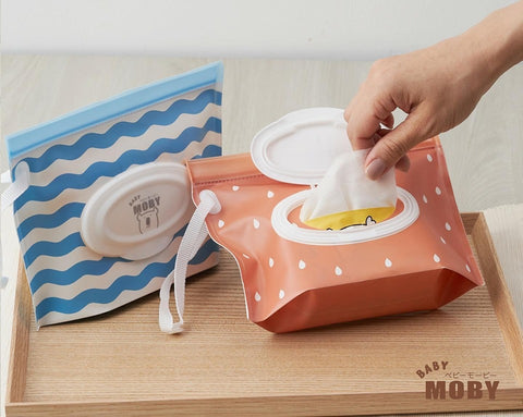 Baby Moby Dry Wipes Dispenser - Orange/Blue
