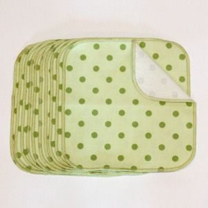 Planetwise Flannel Wipes - Green Polka Dot (set of 10)