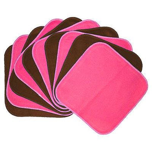 Planetwise Flannel Wipes - Hot Pink/Chocolate (set of 10)