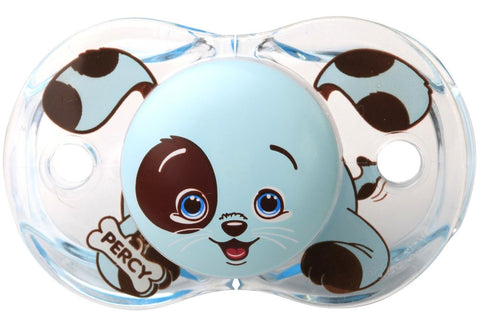 RaZbaby Keep-It-Clean Pacifier, Percy Blue Puppy