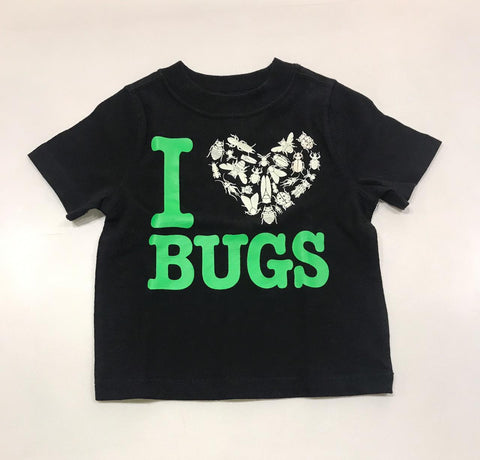 Boy Black T-Shirt With I Love Bugs Print (Glow in the Dark)
