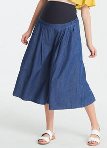 Cool wide leg light Denim Maternity Pants