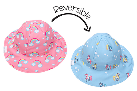FlapJack Kids Reversible Baby & Kids Patterned Sun Hat - Rainbow/Unicorn