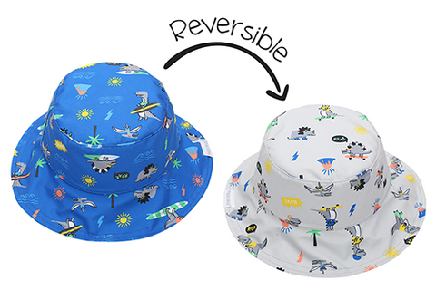 FlapJack Kids Reversible Baby & Kids Patterned Sun Hat - Dino