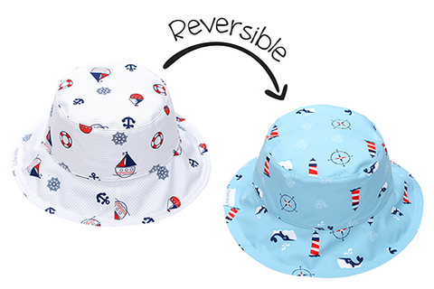FlapJack Kids Reversible Baby & Kids Patterned Sun Hat - Nautical