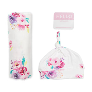 Lulujo Hello World Swaddling Blanket & Matching Hat - Posies