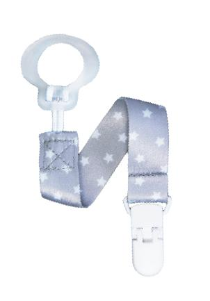 RaZbaby Keep-It-Clean Pacifier Holder, Gray Stars