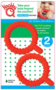 Knobby Q Baby Teether 2pk (Stage 2) - Red