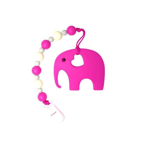 Li'l Twinkies Teether w/ Clip-On, Pink Elephant