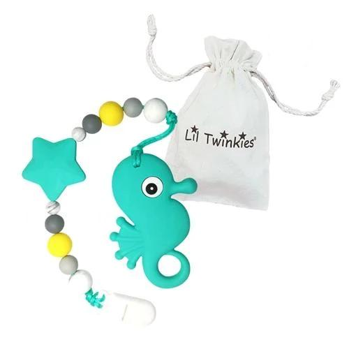 Li'l Twinkies Teether w/ Clip-On, Teal Seahorse