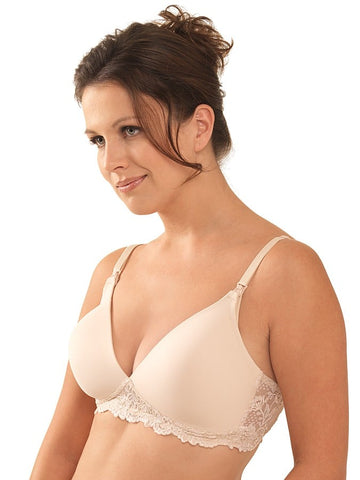 Leading Lady Molded Seamless Lace-Frame Wirefree Nursing Bra