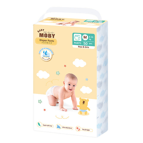 Baby Moby Chlorine Free Diaper Pants 50ct - Medium