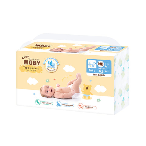 Baby Moby Chlorine Free Diapers Taped 42ct - Newborn
