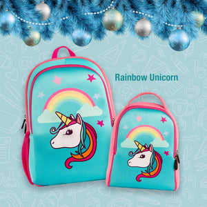 Q Rose Academy Series Backpack & Lunchbag - Rainbow Unicorn