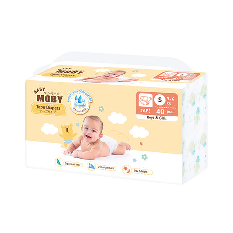 Baby Moby Chlorine Free Diaper Taped 40ct - Small
