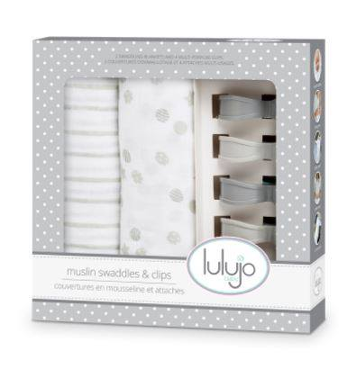 Lulujo Cotton Muslin (Set of 2 & 4 Clip Set) - Grey