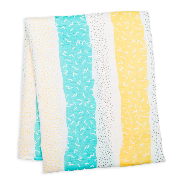 Lulujo Bamboo Muslin (Single) - Yellow Spotted Stripe
