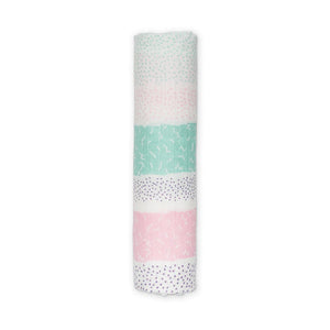 Lulujo Bamboo Muslin (Single) - Pink Spotted Stripe