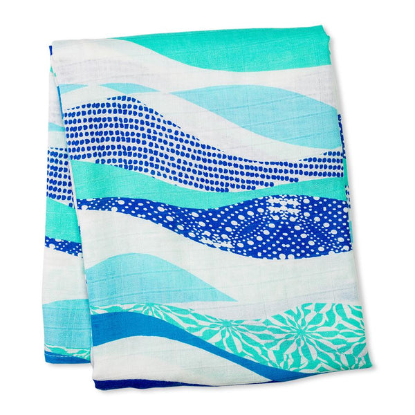 Lulujo Bamboo Muslin (Single) - Blue Waves