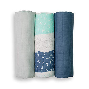 Lulujo Bamboo Mini Muslin (set of 3) - Blue Set