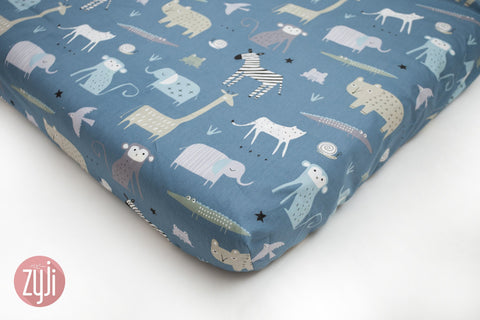 Crib Fitted Sheet (28X52) - Animal Parade