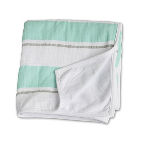 Lulujo Childhood Blanket - Aqua Stripe