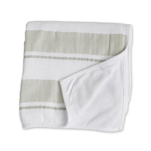 Lulujo Childhood Blanket - Grey Stripe