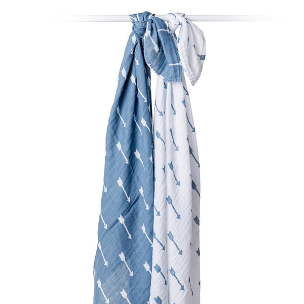 Lulujo Cotton Muslin (Set of 2) - Blue Arrows