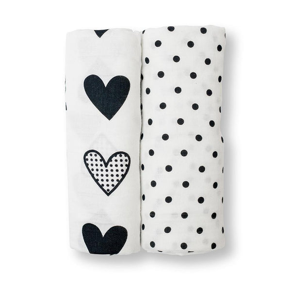 Lulujo Cotton Muslin (Set of 2) - Hearts and Dots