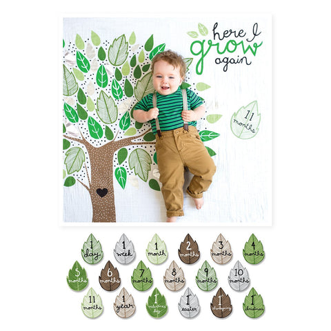 Lulujo Milestone Blanket & Card Set - Here I Grow Again