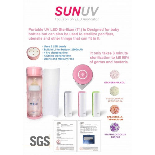 SUNUV Portable UV LED Bottle - Pink