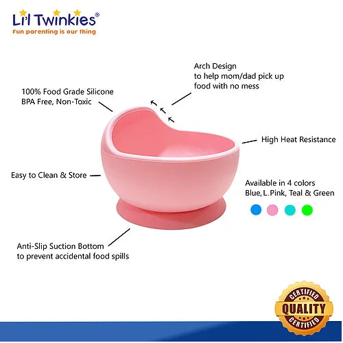 Li'l Twinkies Silicone Weaning Bowl - Light Pink