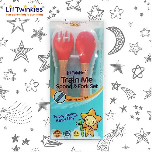 Li'l Twinkies Train Me Spoon and Fork, Red