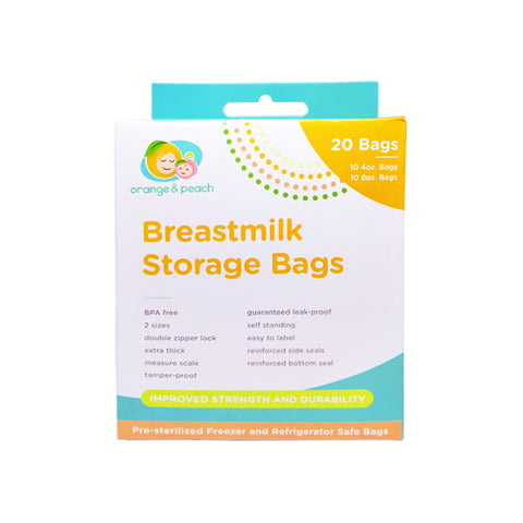 Orange & Peach Breastmilk Storage Bags 20's - 4 oz and 8 oz